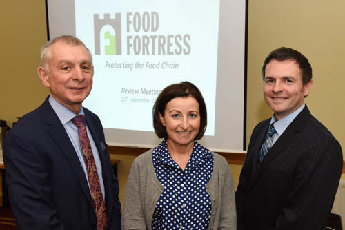 Robin Irvine, Food Fortress Coordinator, Una Davey, InvestNI and Dr Simon Haughey, Queens University, Belfast.